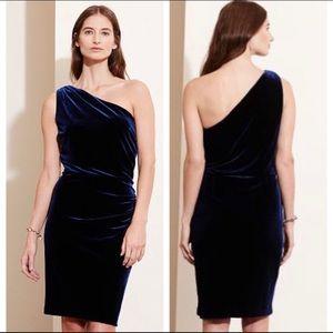 Lauren Ralph Lauren Navy Velvet Dress One Shoulder
